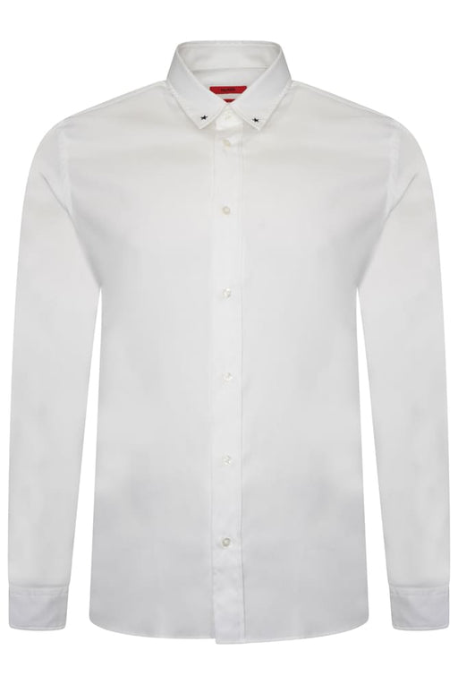 HUGO RELAXED FIT STAR COLLAR SHIRT WHITE - giancarloricci
