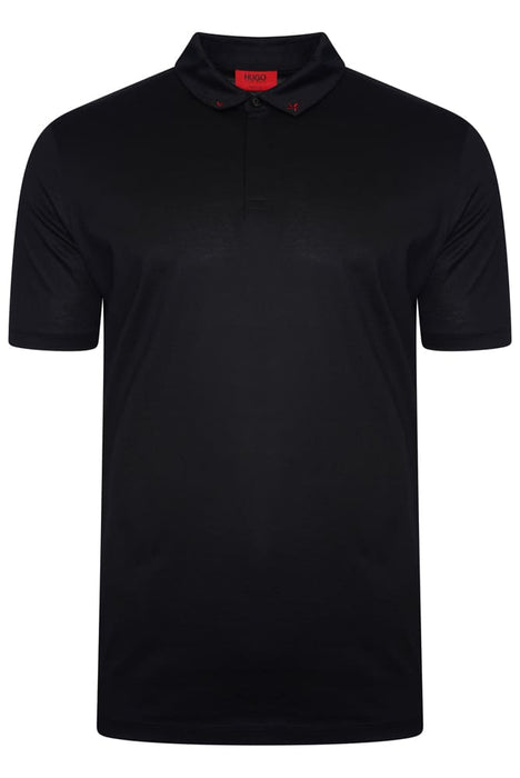 HUGO REGULAR FIT STAR COLLAR JERSEY POLO BLACK - giancarloricci