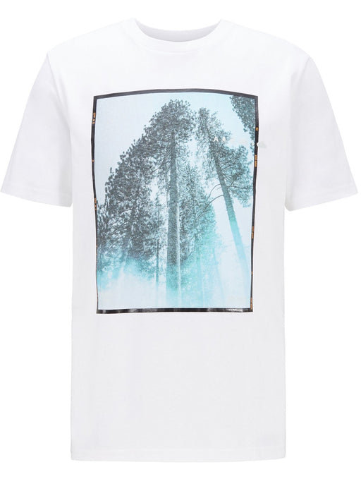 BOSS CASUAL REGULAR FIT TREE PRINT TEE WHITE - giancarloricci