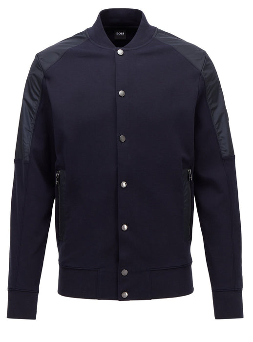 BOSS SMART CASUAL NYLON PANEL JERSEY BOMBER BLUE - giancarloricci