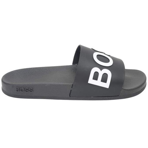 BOSS EMBOSSED LOGO SLIDE BLACK - giancarloricci