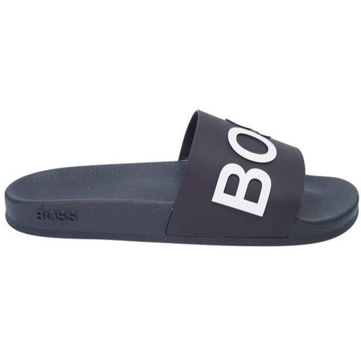BOSS EMBOSSED LOGO SLIDE BLUE - giancarloricci