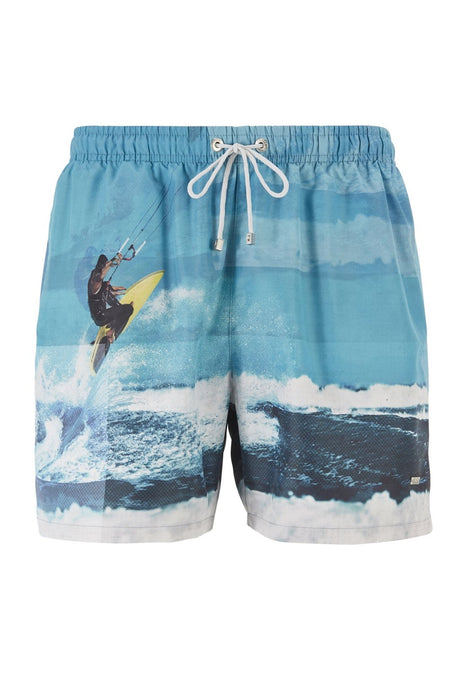 BOSS BODYWEAR SURFER PRINT SWIMMER BLUE - giancarloricci