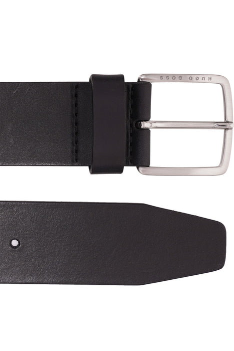 BOSS LOGO BUCKLE LEATHER BELT BLACK - giancarloricci