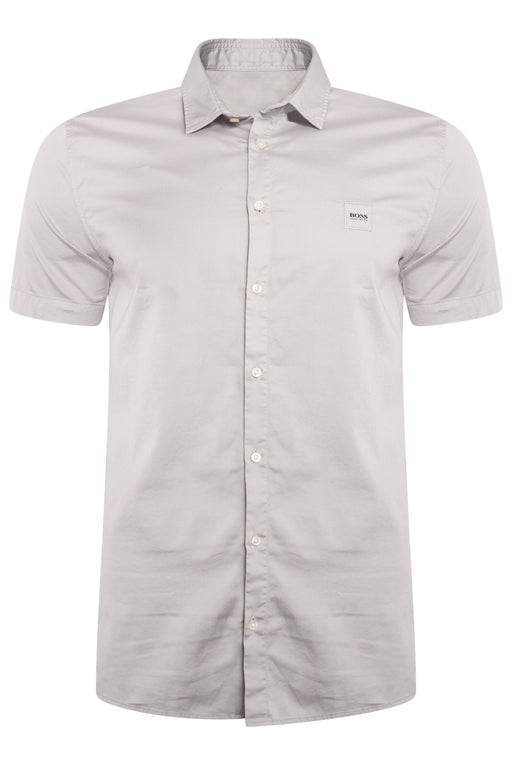 BOSS CASUAL LOGO CHEST STRETCH SHIRT GREY - giancarloricci