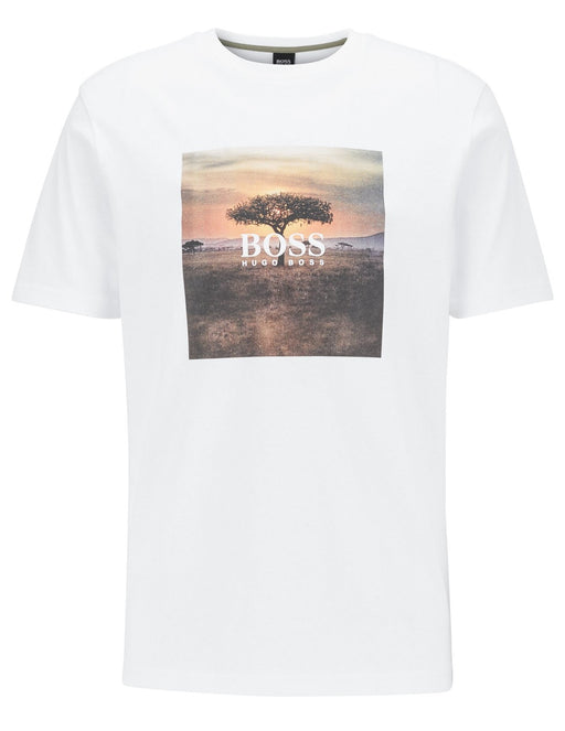 BOSS CASUAL LANDSCAPE LOGO TEE WHITE - giancarloricci