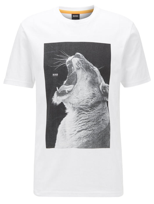 BOSS CASUAL LION PRINT TEE WHITE - giancarloricci