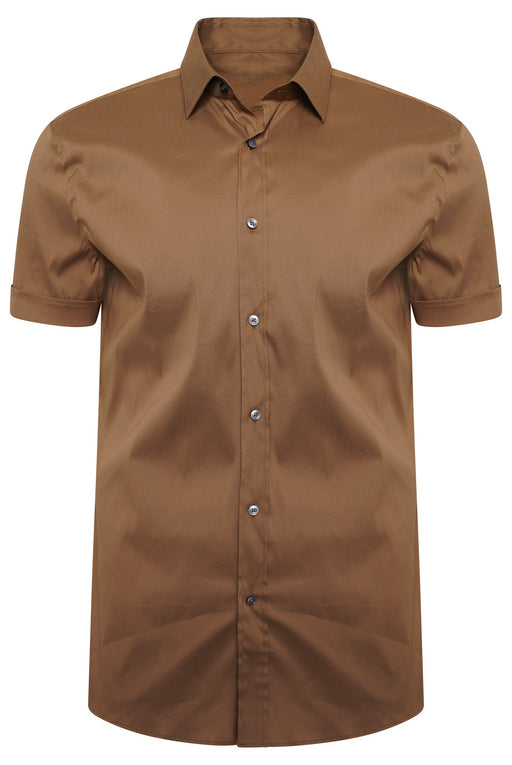 BOSS BUSINESS SLIM FIT TRAVEL SHIRT BEIGE - giancarloricci