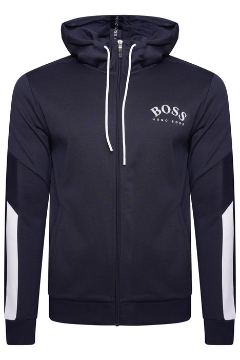 BOSS ATHLEISURE CONTRAST TRIM LOGO ZIPPER HOODIE BLUE - giancarloricci