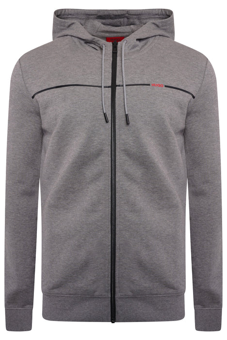 HUGO LOGO STRIPE ZIPPER HOODIE GREY - giancarloricci