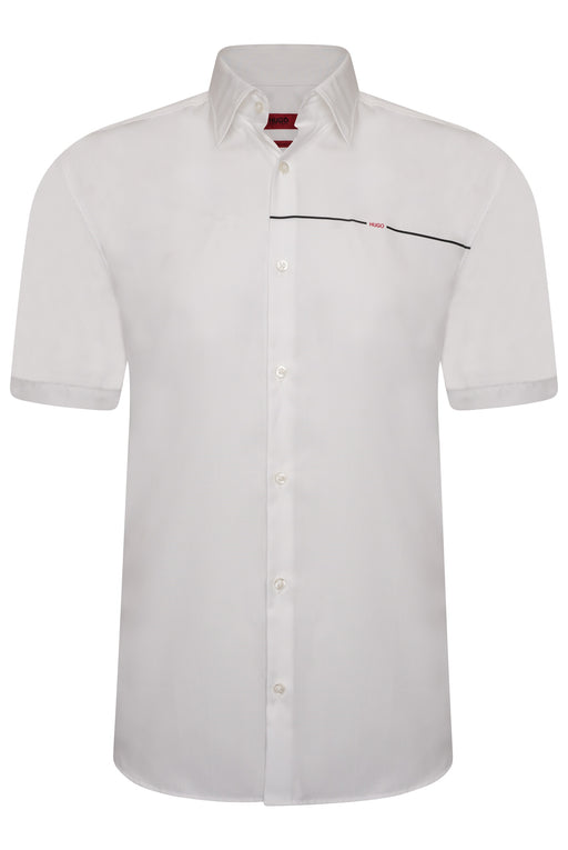 HUGO SLIM FIT LOGO STRIPE SHIRT WHITE