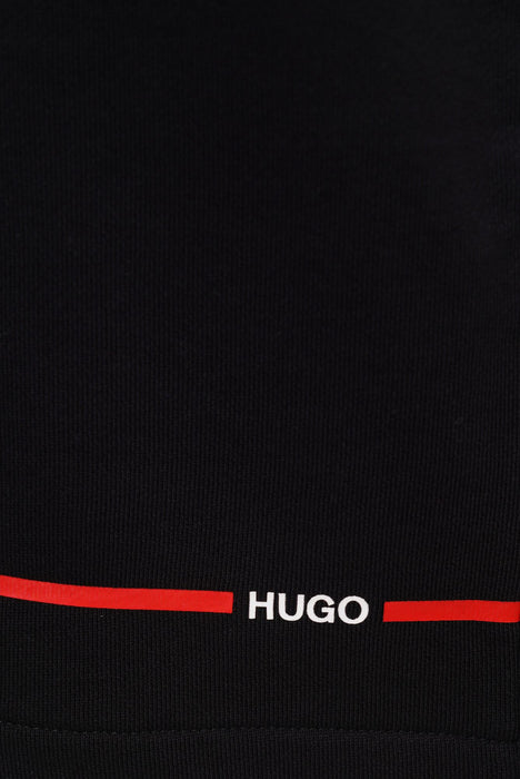HUGO LOGO STRIPE JERSEY SHORT BLACK - giancarloricci
