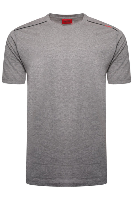 HUGO LOGO STRIPE SHOULDER TEE GREY - giancarloricci