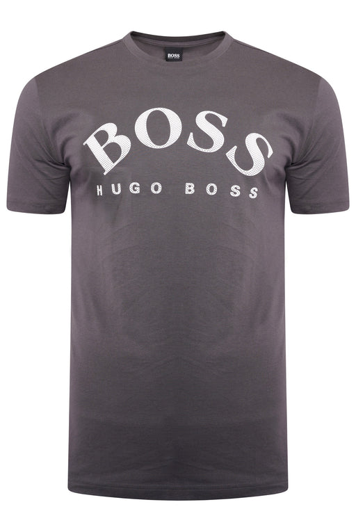 BOSS ATHLEISURE CURVED LOGO TEE GREY - giancarloricci