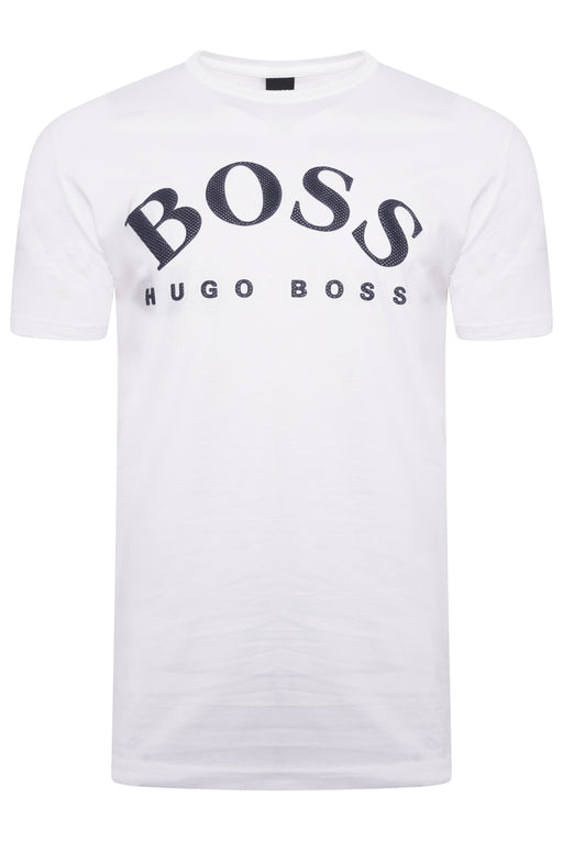 BOSS ATHLEISURE CURVED LOGO TEE WHITE - giancarloricci