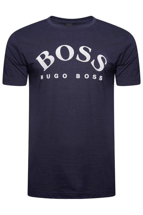 BOSS ATHLEISURE CURVED LOGO TEE BLUE - giancarloricci