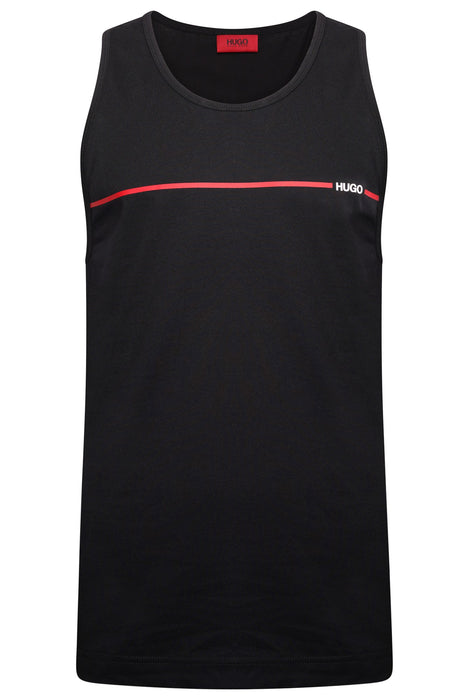 HUGO BODYWEAR LOGO STRIPE VEST BLACK - giancarloricci