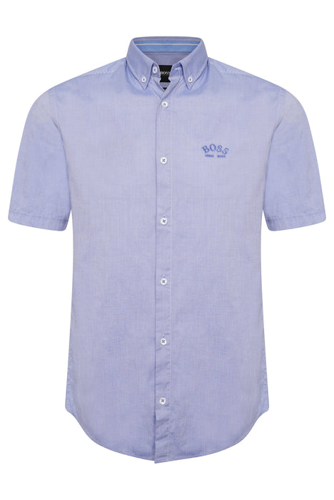 BOSS ATHLEISURE LOGO CHEST OXFORD SHIRT BLUE