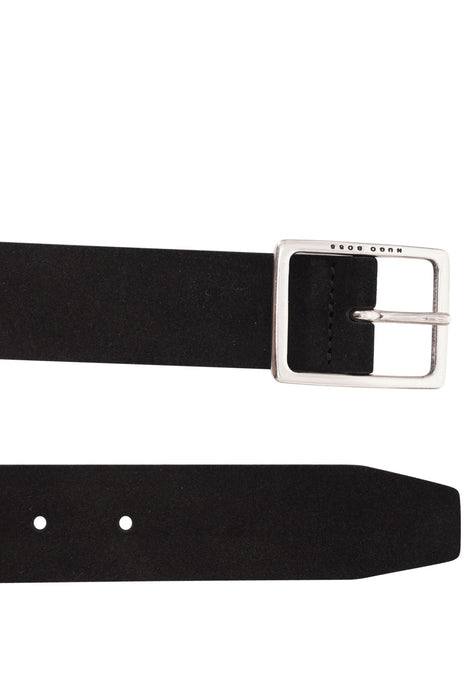 BOSS LOGO BUCKLE SUEDE BELT BLACK - giancarloricci