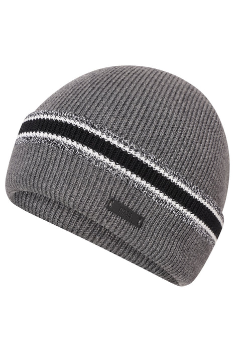 BOSS MARL STRIPE RIBBED BEANIE GREY