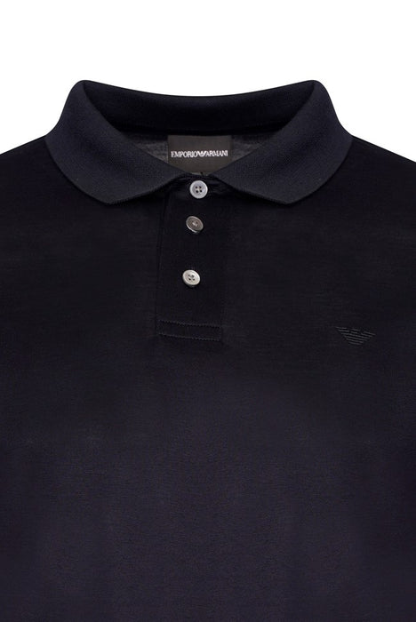 EMPORIO ARMANI MERCERISED EAGLE LOGO JERSEY POLO BLUE