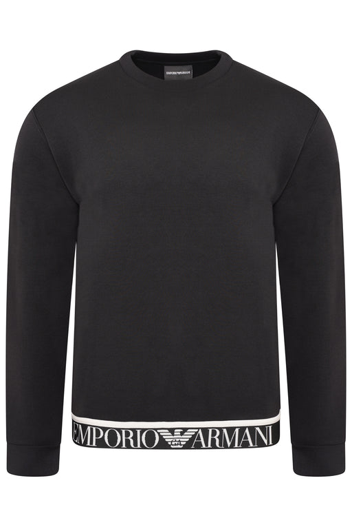 EMPORIO ARMANI LOGO WAISTBAND CREW SWEAT BLACK