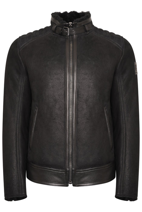 BELSTAFF WESTLAKE LEATHER SHEARLING BIKER BLACK
