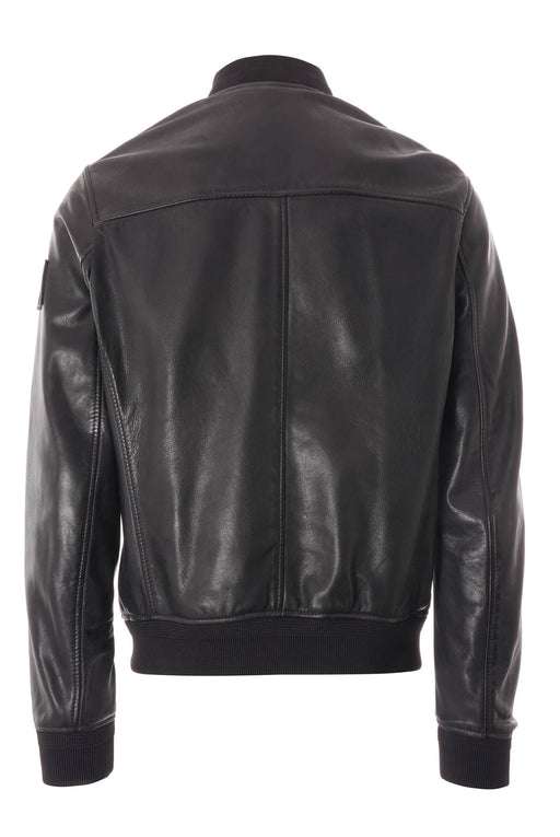 BELSTAFF LEATHER BOMBER BLACK - giancarloricci