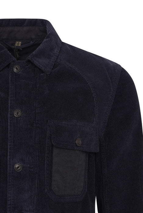BELSTAFF RAKE PATCH POCKET CORD OVERSHIRT BLUE