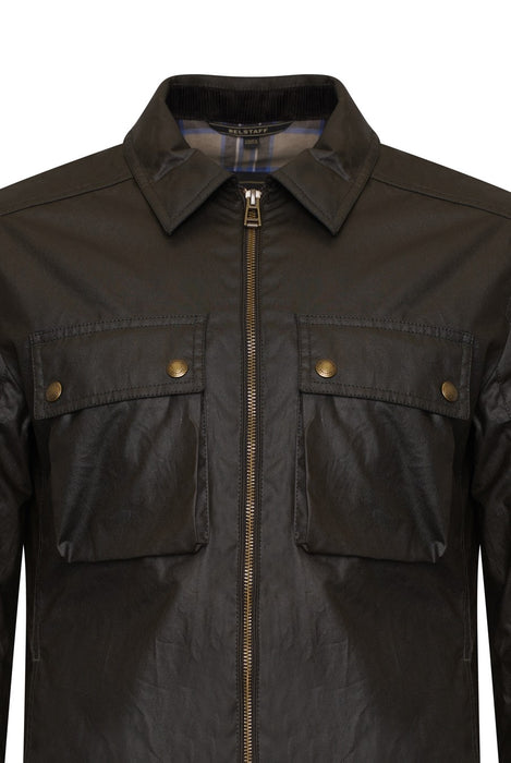 BELSTAFF DUNSTALL WAXED PATCH POCKET OVERSHIRT GREEN