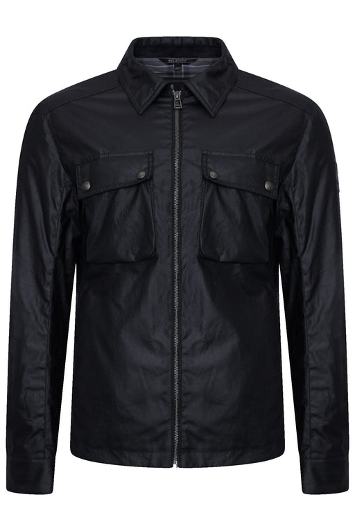 BELSTAFF DUNSTALL WAXED PATCH POCKET OVERSHIRT BLUE