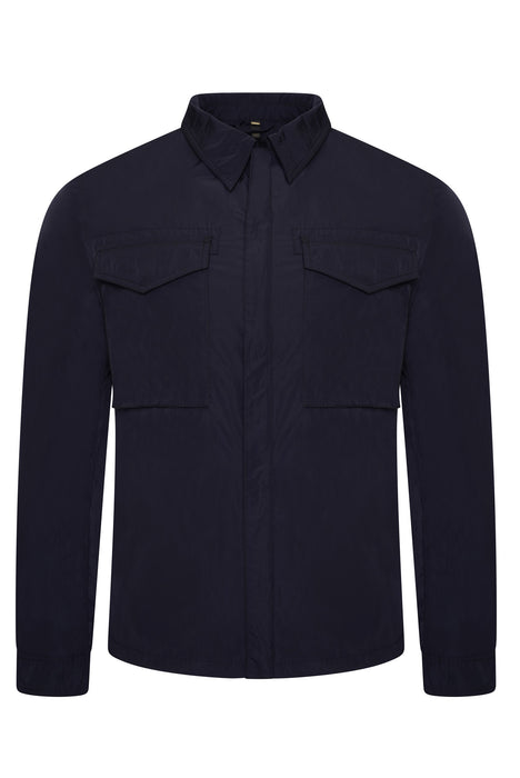 BELSTAFF COMMAND PATCH POCKET NYLON OVERSHIRT BLUE