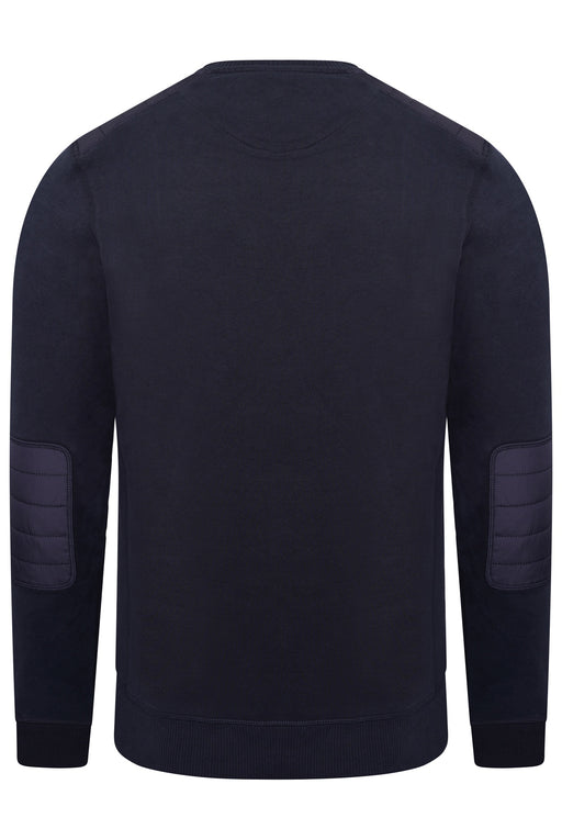 BELSTAFF NYLON PATCH CREW SWEAT BLUE