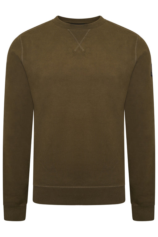 BELSTAFF NYLON PATCH CREW SWEAT GREEN
