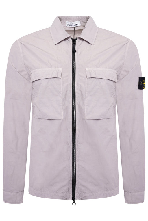 STONE ISLAND PATCH POCKET ZIPPER OVERSHIRT GREY - giancarloricci