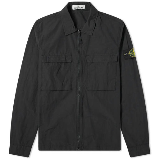 STONE ISLAND PATCH POCKET ZIPPER OVERSHIRT BLACK - giancarloricci