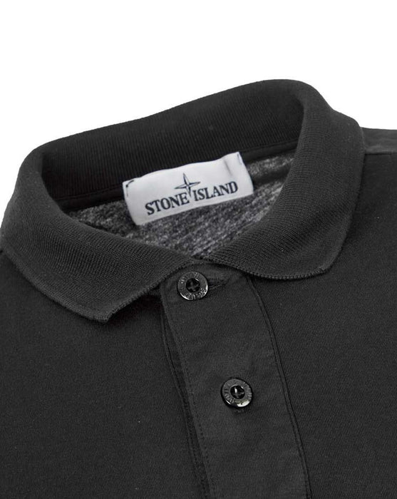 STONE ISLAND COMPASS BADGE JERSEY POLO BLACK - giancarloricci