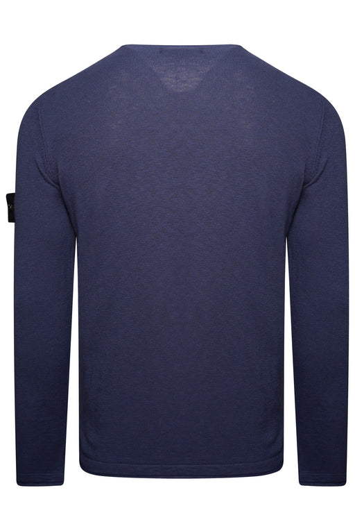STONE ISLAND COTTON MARL CREW KNIT BLUE - giancarloricci