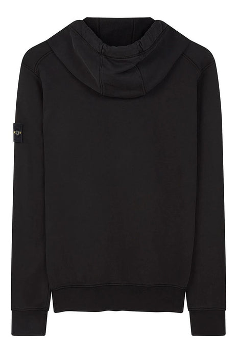STONE ISLAND GARMENT DYED COTTON FLEECE HOODIE BLACK - giancarloricci