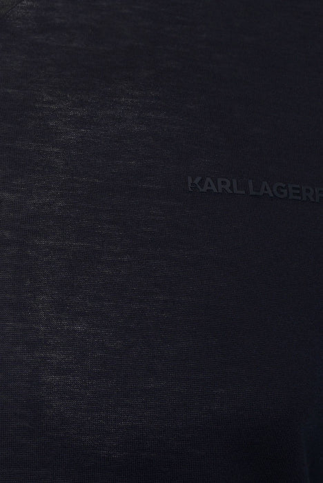 KARL LAGERFELD SNAP BUTTON JERSEY POLO BLUE - giancarloricci