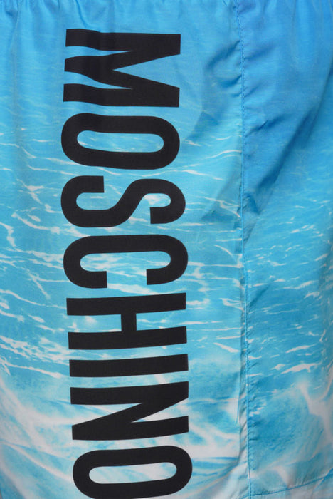 MOSCHINO WATER PRINT LOGO SWIMMER BLUE - giancarloricci