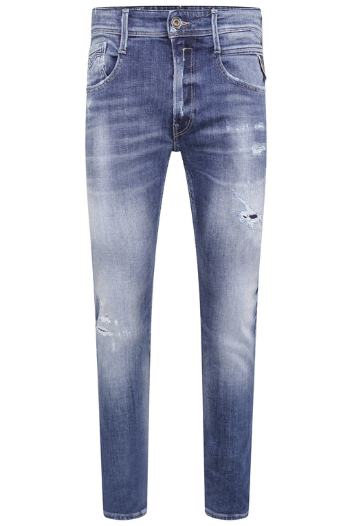 REPLAY ANBASS SLIM FIT RIP & REPAIR JEAN BLUE