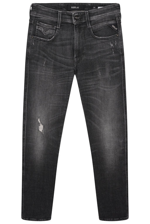 REPLAY ANBASS SLIM FIT RIP & REPAIR JEAN BLACK