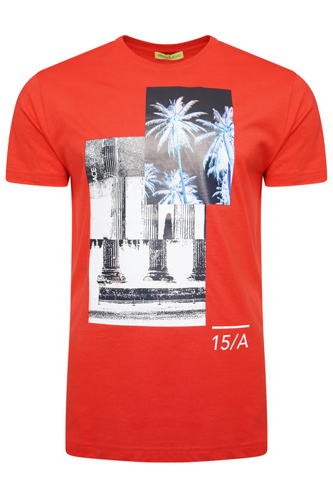 VERSACE JEANS REGULAR FIT PALM COLUMN PRINT TEE RED - giancarloricci