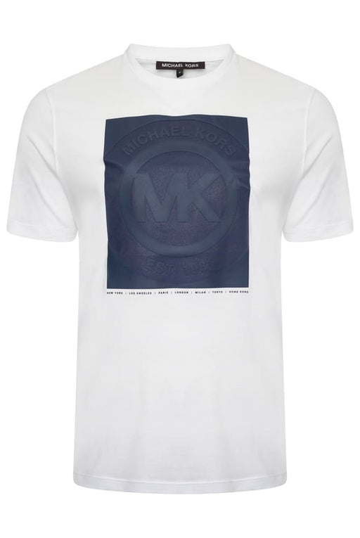 MICHAEL KORS REGULAR FIT LOGO STAMP TEE WHITE - giancarloricci