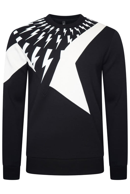 NEIL BARRETT THUNDERBOLT STAR BONDED SWEATSHIRT BLACK - giancarloricci