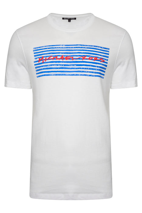 MICHAEL KORS STRIPE BOX LOGO TEE WHITE - giancarloricci