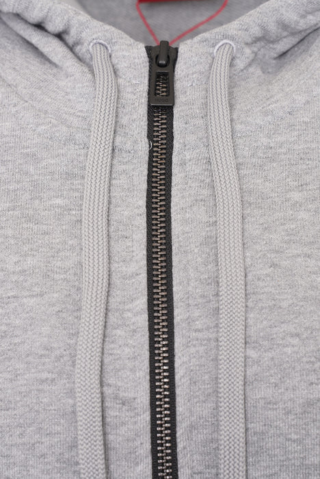 HUGO BOX LOGO ZIPPER HOODIE GREY
