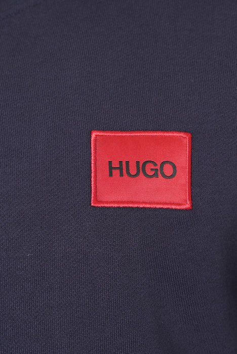 HUGO BOX LOGO ZIPPER HOODIE BLUE
