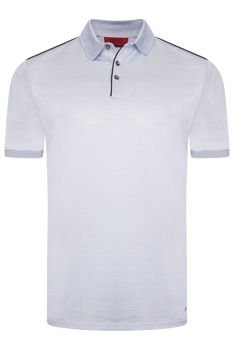 HUGO DROP SHOULDER MERCERISED POLO BLUE